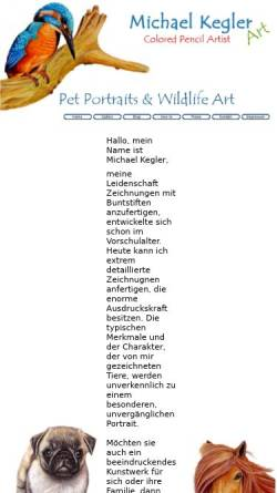 Vorschau der mobilen Webseite www.webboth.de, Pastell-, Bunt und Bleistiftzeichnungen von Michael Kegler