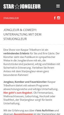 Vorschau der mobilen Webseite starjongleur.ch, Starjongleur Kaspar Tribelhorn