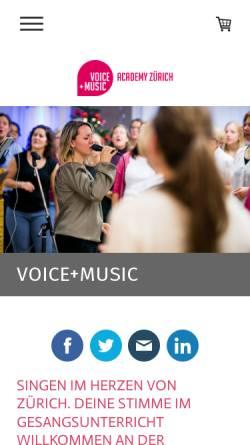 Vorschau der mobilen Webseite gesangsschule.ch, FeMale Funk Project Vocal Performance School, Zürich