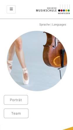 Vorschau der mobilen Webseite www.musikalis.ch, Jugendmusikschule CH-8570 Weinfelden