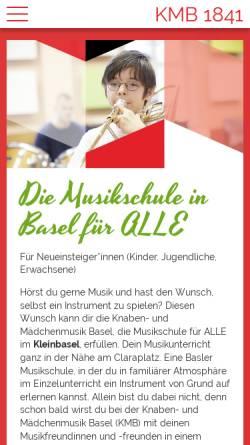 Vorschau der mobilen Webseite www.kmb.ch, Knabenmusik Basel