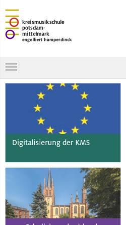 Vorschau der mobilen Webseite www.kms-pm.de, Kreismusikschule Potsdam-Mittelmark