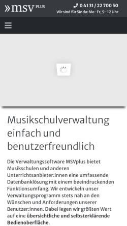 Vorschau der mobilen Webseite www.msvplus.de, MSVplus Musikschulverwaltungssoftware