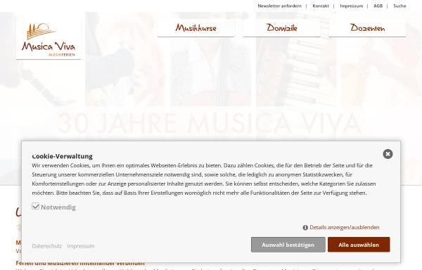 Vorschau von www.musikferien.de, Musikkurse und Urlaub