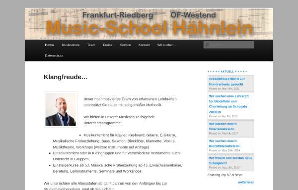 Vorschau von www.music-school-haehnlein.de, Musikschule Hähnlein - Frankfurt
