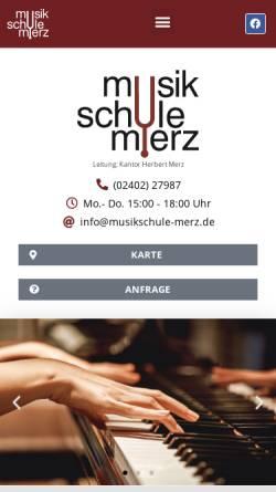 Vorschau der mobilen Webseite www.musikschule-merz.de, Musikschule Merz in Stolberg/Rhld.