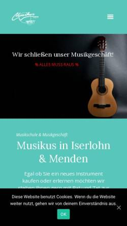 Vorschau der mobilen Webseite musikus-iserlohn.de, Musikus - Musikschule Iserlohn