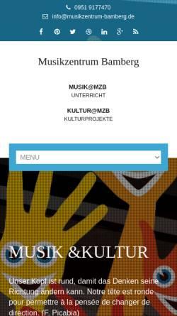 Vorschau der mobilen Webseite www.musikzentrum-bamberg.de, Musikzentrum Bamberg