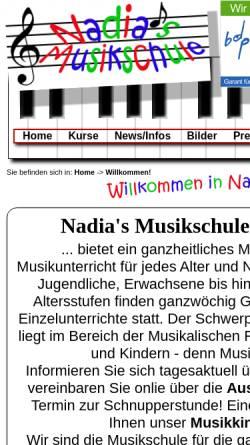 Vorschau der mobilen Webseite www.nadias-musikschule.de, Nadia's Musikschule Rüsselsheim