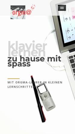 Vorschau der mobilen Webseite www.orgma.de, Orgma - Fernunterricht für Tasteninstrumente