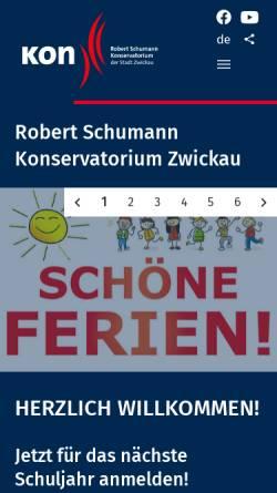 Vorschau der mobilen Webseite www.musikschulezwickau.de, Robert Schumann Konservatorium der Stadt Zwickau
