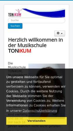 Vorschau der mobilen Webseite www.tonikum-giessen.de, Tonikum, Musikpädagogisches Zentrum Giessen