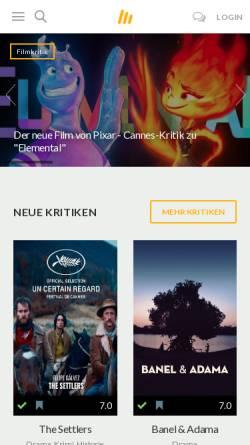 Vorschau der mobilen Webseite www.moviebreak.de, Movierebreak