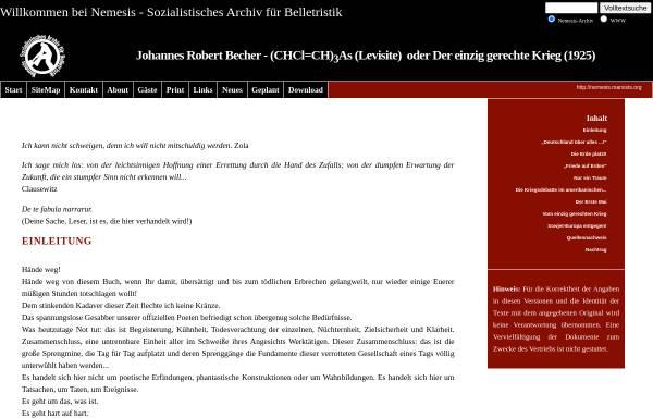 Vorschau von nemesis.marxists.org, Johannes Robert Becher: (CHCl=CH)3As (Levisite) oder Der einzig gerechte Krieg (1925)