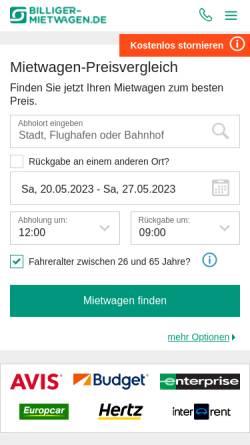 Vorschau der mobilen Webseite www.billiger-mietwagen.de, Billiger-mietwagen.de, SilverTours GmbH