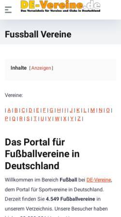 Vorschau der mobilen Webseite fussball.de-vereine.de, Fußballvereine in Deutschland