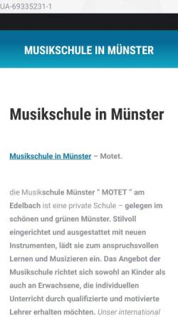 Vorschau der mobilen Webseite www.musikschule-motet.de, Musikschule Münster Motet, Jan Gryz