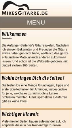 Vorschau der mobilen Webseite www.mikesgitarre.de, MikesGitarre.de