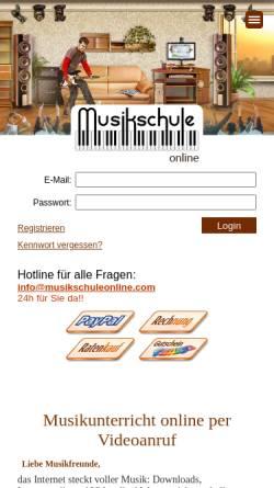 Vorschau der mobilen Webseite www.musikschuleonline.com, Musikschule Online GbR