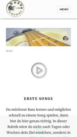 Vorschau der mobilen Webseite www.bass-corner.de, Bass-Corner.de