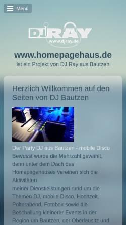 Vorschau der mobilen Webseite homepagehaus.de, Ray Kirsch mobile Diskothek