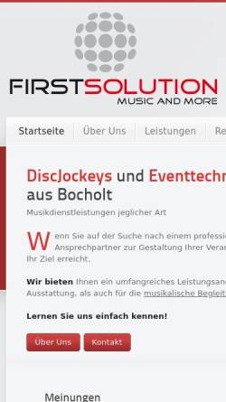 Vorschau der mobilen Webseite www.first-solution-music.de, First Solution Kortenhorn GbR
