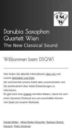 Vorschau der mobilen Webseite www.danubiamusic.com, Danubia Saxophon Quartett Wien