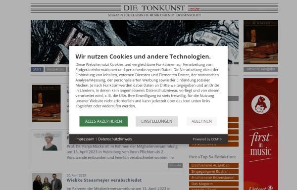 Vorschau von www.die-tonkunst.de, Die Tonkunst