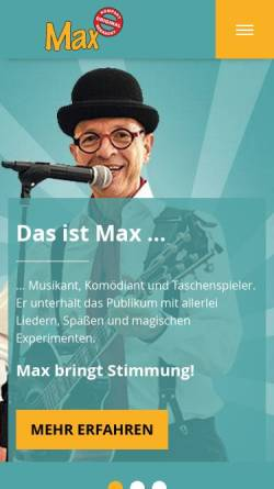 Vorschau der mobilen Webseite www.musikantmax.de, Max der Straßenmusikant