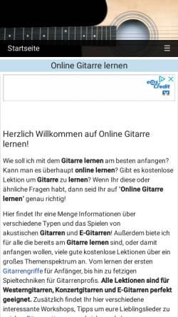 Vorschau der mobilen Webseite www.onlinegitarrelernen.de, Online Gitarre lernen