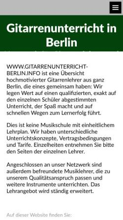 Vorschau der mobilen Webseite www.gitarrenunterricht-berlin.info, gitarrenunterricht-berlin.info