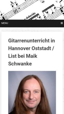 Vorschau der mobilen Webseite www.gitarrenlehrer.eu, Schwanke, Maik