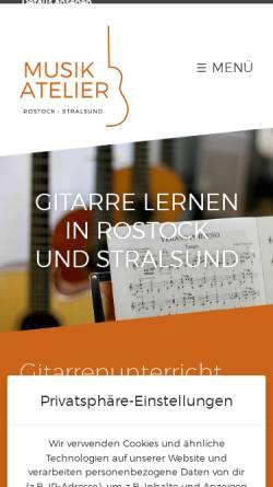 Vorschau der mobilen Webseite www.musikatelier-rostock.de, Musikatelier Rostock