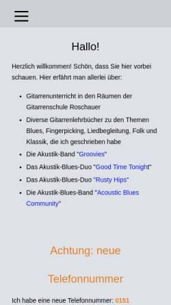 Vorschau der mobilen Webseite www.gitarrenschule-roschauer.de, Gitarrenschule Roschauer