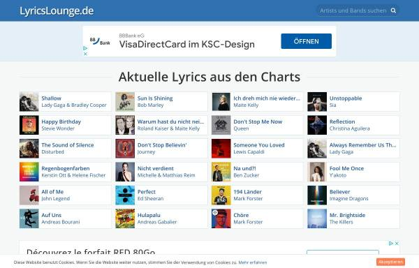Vorschau von www.lyricslounge.de, LyricsLounge