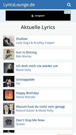 Vorschau der mobilen Webseite www.lyricslounge.de, LyricsLounge