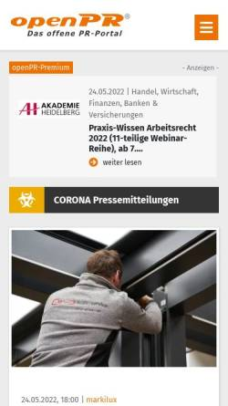 Vorschau der mobilen Webseite www.openpr.de, OpenPR