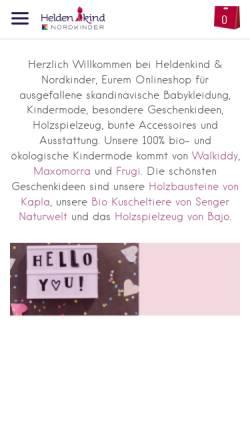 Vorschau der mobilen Webseite www.heldenkind.de, Heldenkind - Kindermode & Geschenkideen