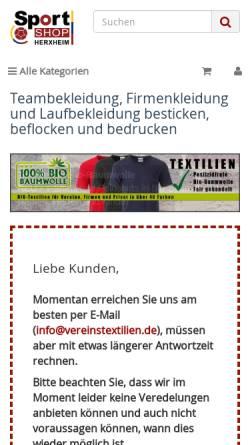 Vorschau der mobilen Webseite www.vereinstextilien.de, Sportshop Herxheim, Inh. Thomas Hans