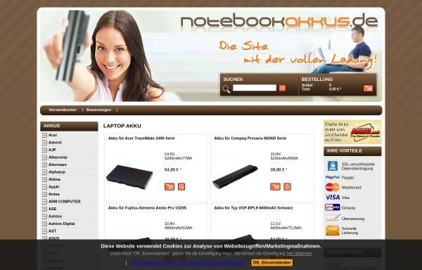 Vorschau von www.notebookakkus.de, Notebookakku, Inh. Wolf-Dietrich Giseke