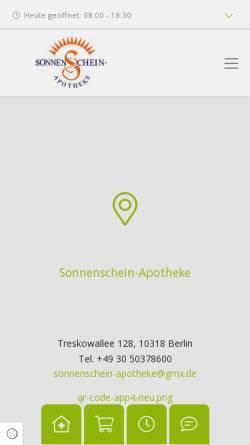 Vorschau der mobilen Webseite www.sonnenschein-apotheke.de, Sonnenschein-Apotheke