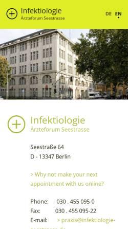 Vorschau der mobilen Webseite www.infektiologie-seestrasse.de, Ärzteforum Seestraße