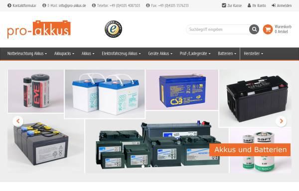 Vorschau von www.pro-akkus.de, Pro-Akkus, Inh. Thorsten Lüßmann