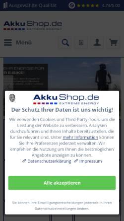Vorschau der mobilen Webseite www.akkushop.de, AkkuShop.de, Inh. Monika Müller