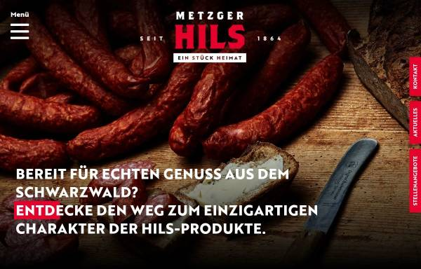 Vorschau von www.metzgerhils.de, Metzger Hils - Schwarzwälder Fleisch- und Wurstwaren