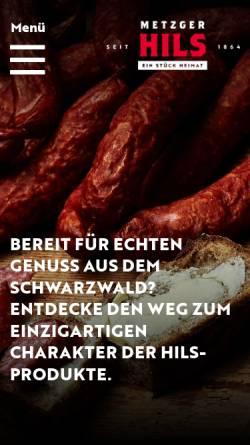 Vorschau der mobilen Webseite www.metzgerhils.de, Metzger Hils - Schwarzwälder Fleisch- und Wurstwaren