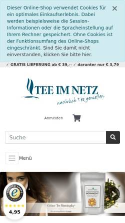 Vorschau der mobilen Webseite www.teeimnetz.de, Teeimnetz, Petra und Bernd Kluge GbR