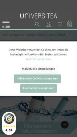 Vorschau der mobilen Webseite www.universitea.de, Universitea of Tea Teehaus und Teeversand GmbH