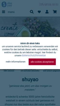 Vorschau der mobilen Webseite shuyao.de, Shuyao GmbH