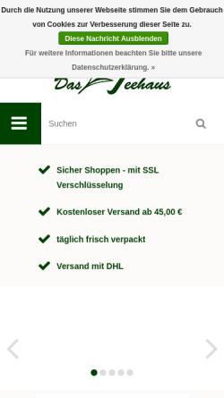 Vorschau der mobilen Webseite www.teehausshop.de, Teehaus Bad Harzburg, Reinhard Osdowsky